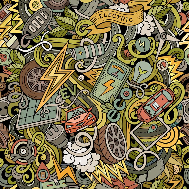 Getrokken het Elektrische voertuig naadloos patroon van beeldverhaal leuk krabbels hand royalty-vrije illustratie