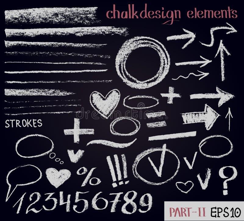 Getrokken het ontwerpelementen van de krijttextuur hand Reeks krijtcijfers, pijlen, slagen, lijnen, kaders aangaande zwarte raad stock illustratie