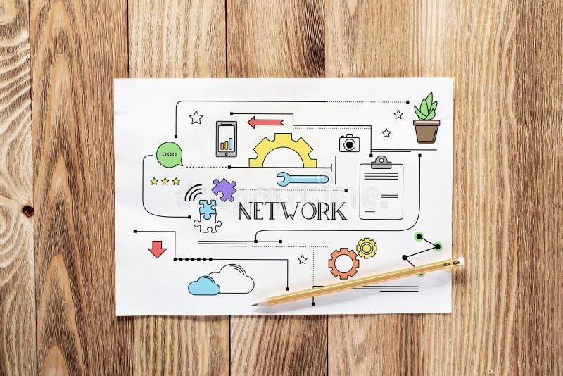 Getrokken het potloodhand van de netwerkverbinding stock afbeelding