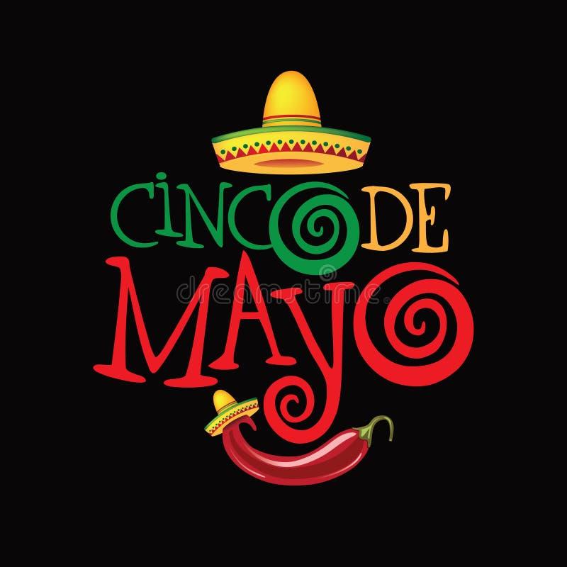 Getrokken het van letters voorzien van Cinco De Mayo hand ontwerp royalty-vrije illustratie
