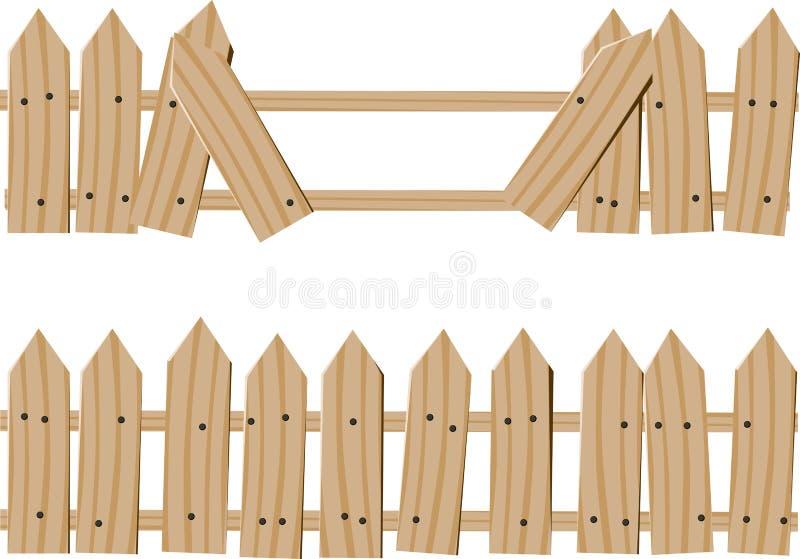 Getrokken houten omheining vector illustratie
