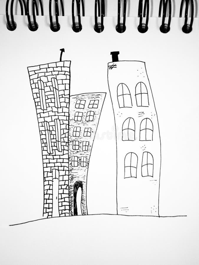 Getrokken huizen. royalty-vrije illustratie