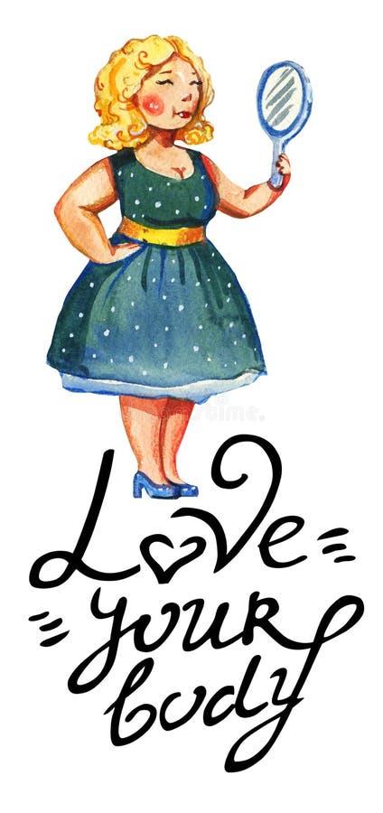 Getrokken illustratie van de lichaams houdt de posotive waterverf hand van blondevrouw met spiegel in uitstekende blauwe kleding  vector illustratie
