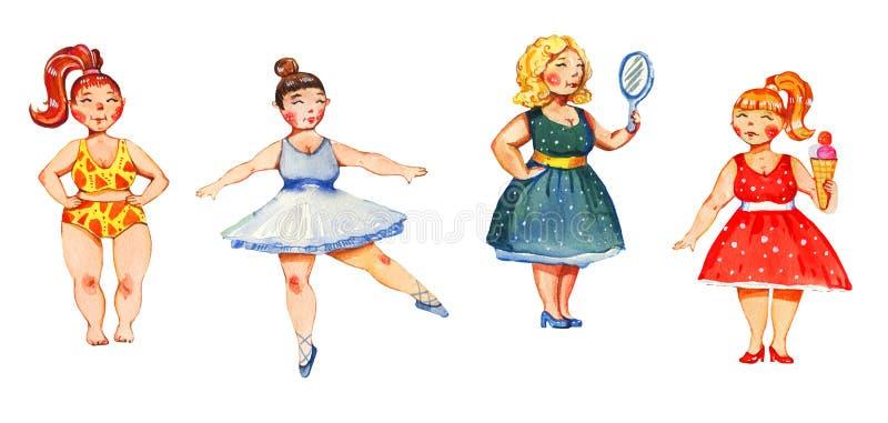 Getrokken illustratie van de lichaams de positieve waterverf hand van vier vrouwen stock illustratie