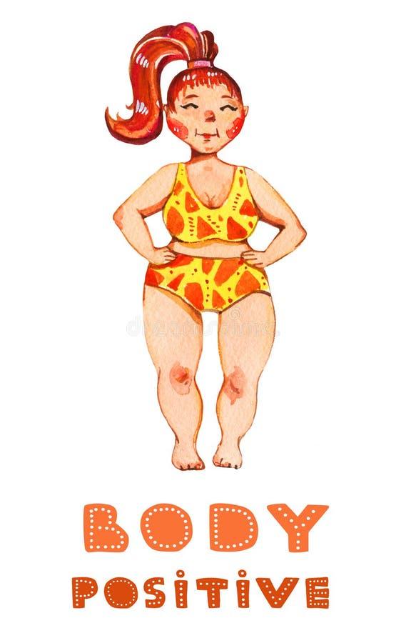 Getrokken illustratie van de lichaams de positieve waterverf hand van vrouw in geel zwempak met het kleurrijke van letters voorzi vector illustratie