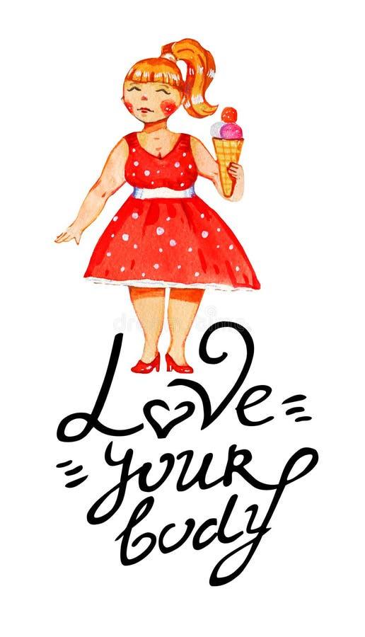 Getrokken illustratie van de lichaams de positieve waterverf hand van vrouw in retro rode kleding en roomijs met liefde uw lichaa stock illustratie