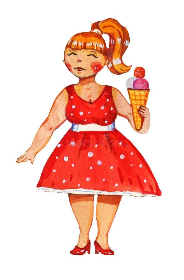 Getrokken illustratie van de lichaams de positieve waterverf hand van vrouw in retro rood kleding en roomijs royalty-vrije illustratie