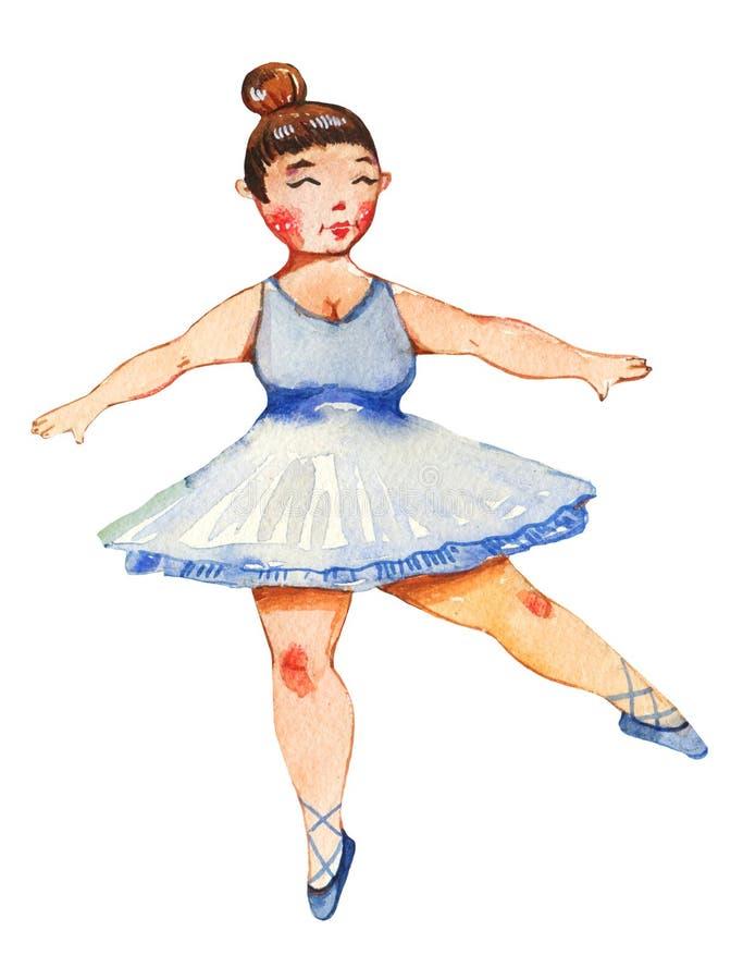 Getrokken illustratie van de lichaams de posotive waterverf hand van ballerina vector illustratie