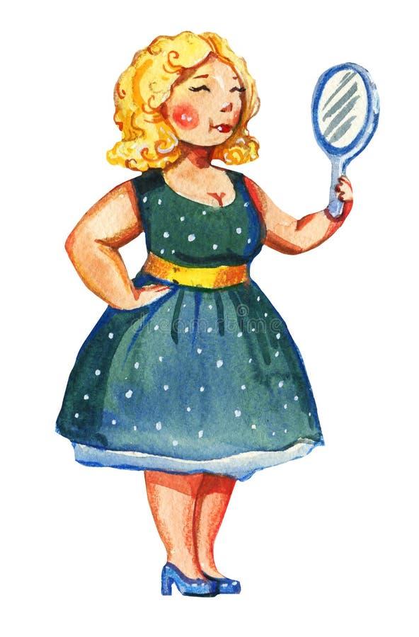 Getrokken illustratie van de lichaams de posotive waterverf hand van blondevrouw met spiegel in uitstekende blauwe kleding royalty-vrije illustratie