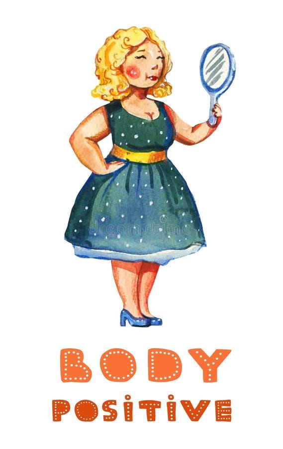 Getrokken illustratie van de lichaams de posotive waterverf hand van blondevrouw met spiegel in uitstekende blauwe kleding met he vector illustratie