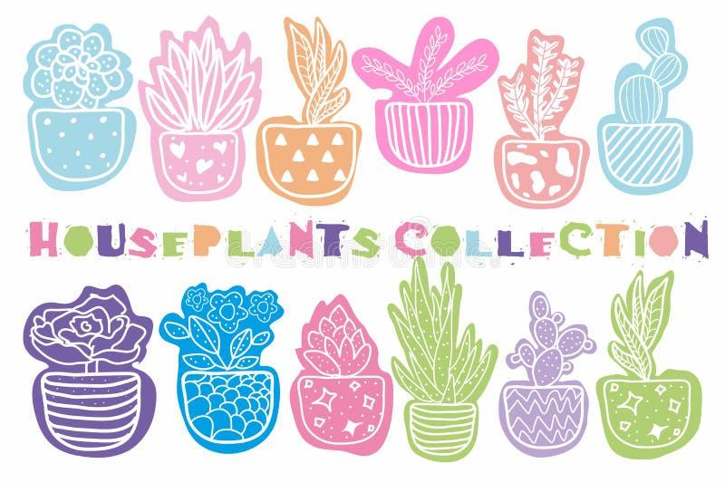 Getrokken inzameling van hand houseplants stock illustratie