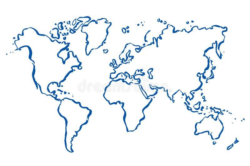 Getrokken kaart van wereld stock illustratie