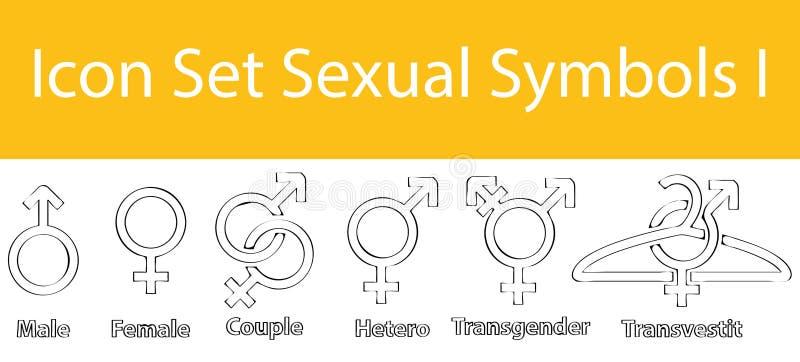 Getrokken Krabbel Gevoerde Pictogram Vastgestelde Seksuele Symbolen I royalty-vrije illustratie