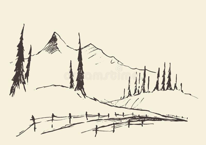 Getrokken landelijke de weg vectorschets van landschapsheuvels vector illustratie
