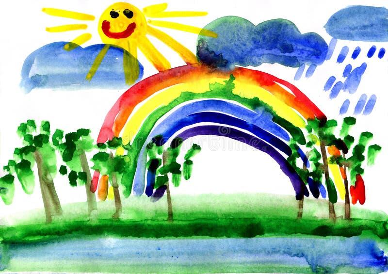 Getrokken landschap met regenboog royalty-vrije stock afbeeldingen