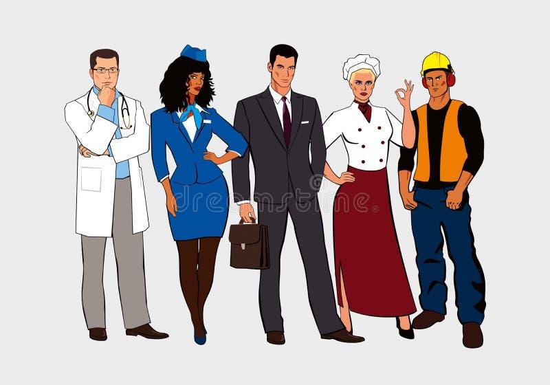 Getrokken mannen en vrouwen van verschillende beroepentribune samen stock illustratie