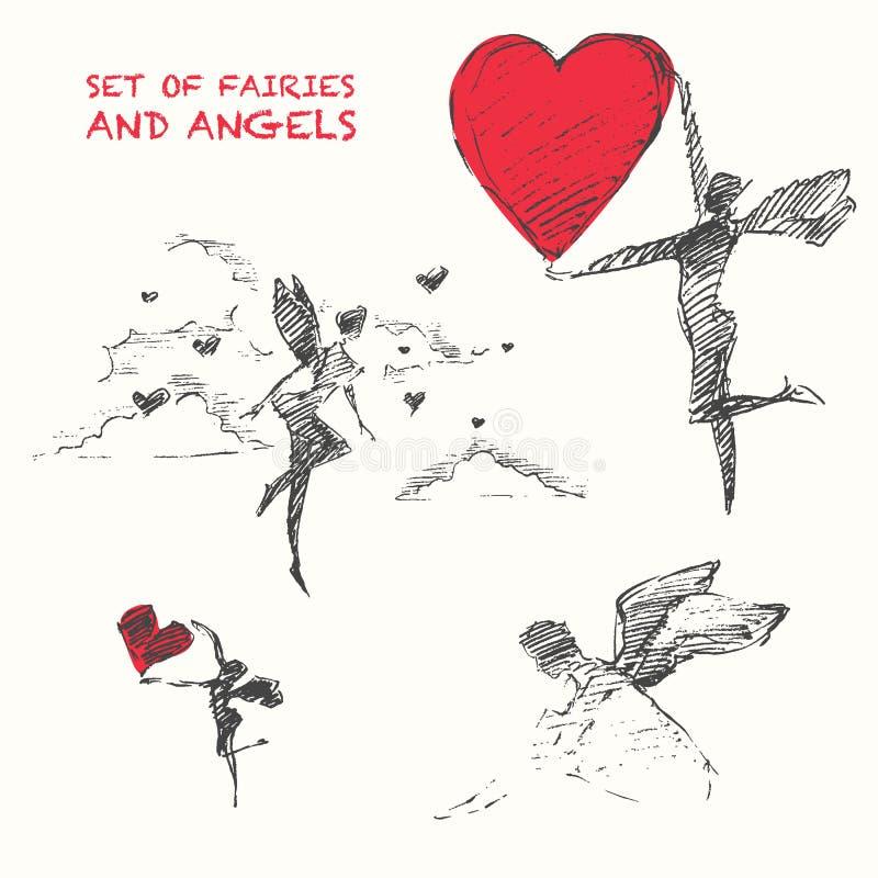 Getrokken reeks die de fairiy vectorschets van het engelenhart vliegen royalty-vrije illustratie