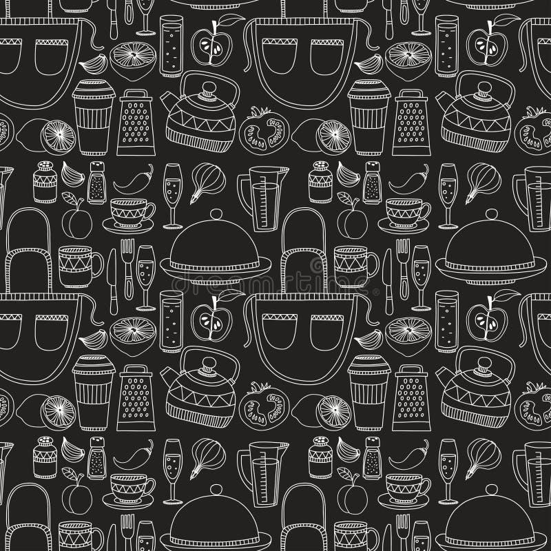 Getrokken reeks van hand cookware vector illustratie