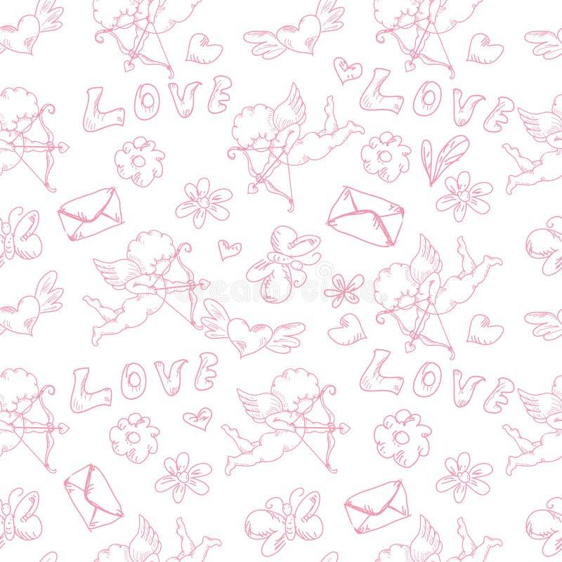 Getrokken uitstekend zwart-wit geïsoleerd de krabbels naadloos patroon van Valentine day's hand vector illustratie
