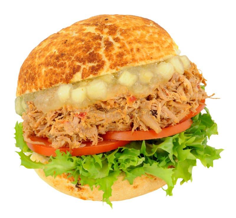 Getrokken Varkensvlees en Apple-Saussandwichbroodje stock afbeeldingen