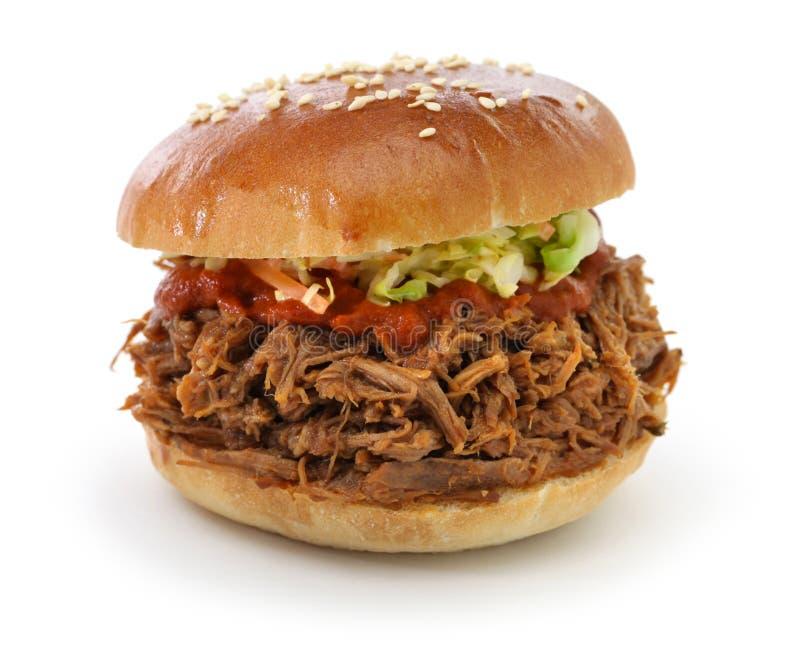 Getrokken varkensvleessandwich stock foto's
