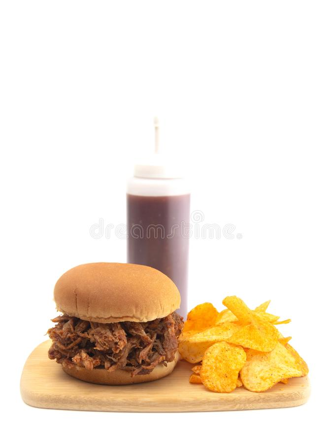 Getrokken Varkensvleessandwich op een Wit Broodje royalty-vrije stock afbeeldingen