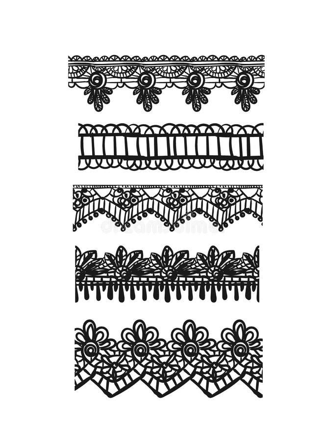 Getrokken vastgestelde de schets vector sjofele elegante elementen van het patroonkant vector illustratie