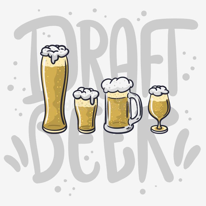 Getrokken Vector het Ontwerp Verschillende Glazen van het ontwerpbier Hand voor Bier op een Witte Achtergrond stock illustratie