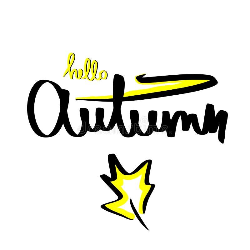 Getrokken vector van het de herfst de met de hand geschreven bosblad hand Het van letters voorzien van zwarte gele schets die op  royalty-vrije illustratie