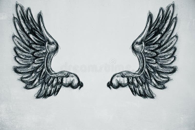 Getrokken vleugels royalty-vrije illustratie