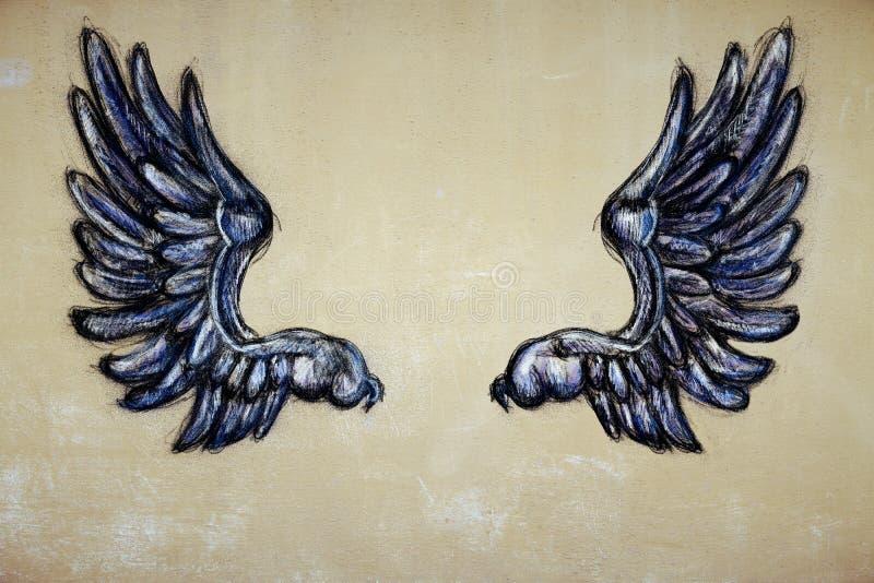 Getrokken vleugels stock illustratie