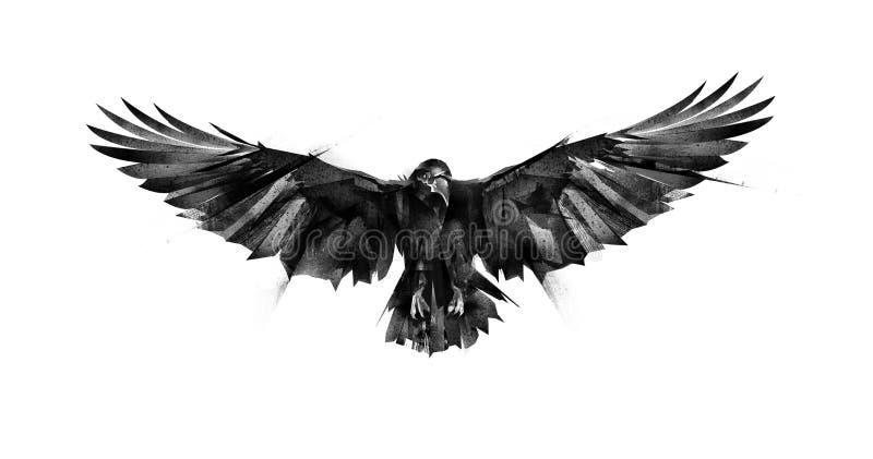 Getrokken vliegende vogelraaf op witte achtergrond royalty-vrije illustratie