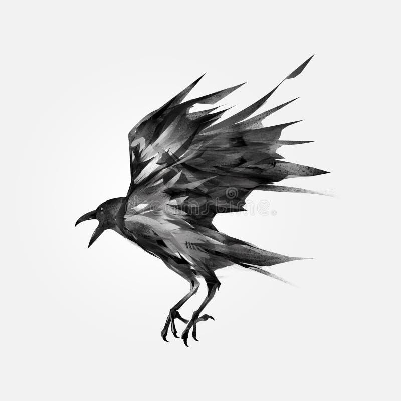 Getrokken vliegende zwarte kraai vector illustratie