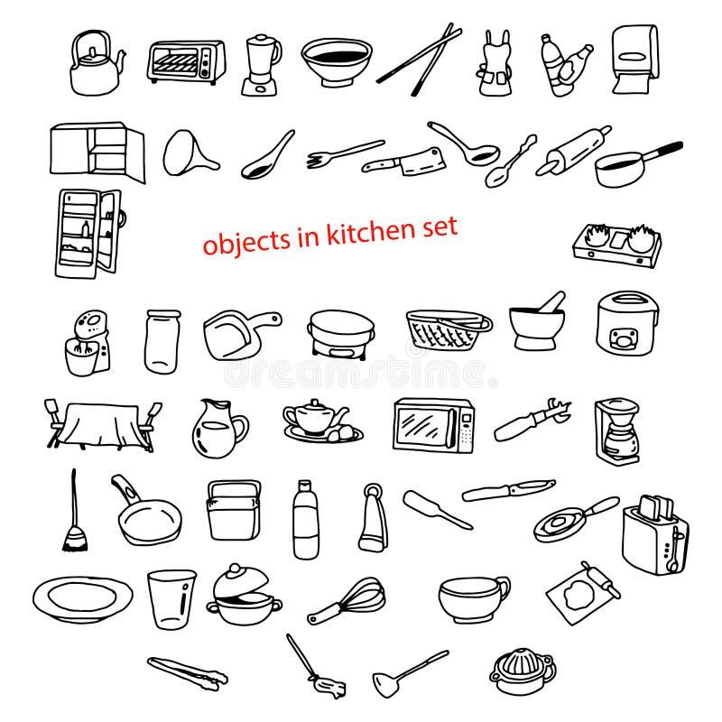 Getrokken voorwerpen van illustratie de vectorkrabbels hand in keuken stock illustratie