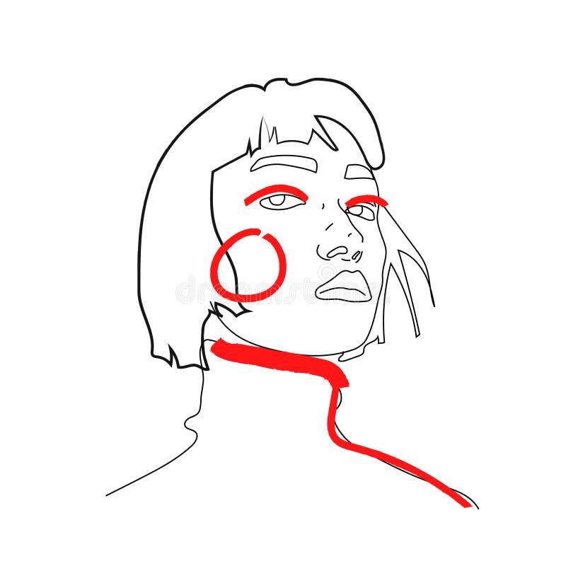 Getrokken vrouw, één lijn, abstracte schets, geïsoleerde hand, lijnentekening, cijfer van een vrouw of een jong meisje vector illustratie