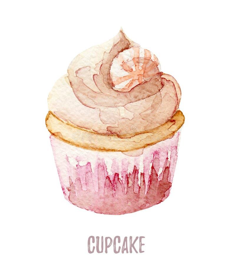 Getrokken waterverf de hand cupcake perfectioneert voor uitnodigingen, kaarten, diners en menumalplaatjes stock illustratie