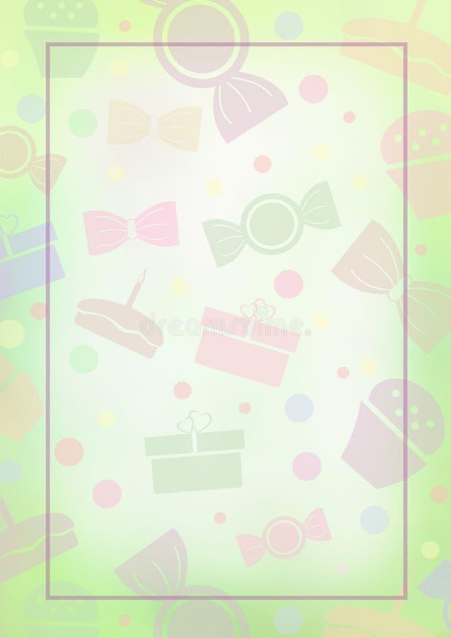 Getrokken waterverf groene achtergrond met cakes, suikergoed en giften stock illustratie