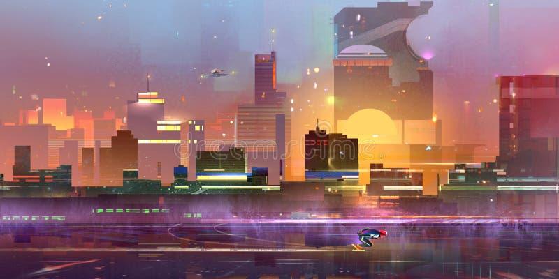 Getrokken wordt een fantastische stad van de toekomst vector illustratie