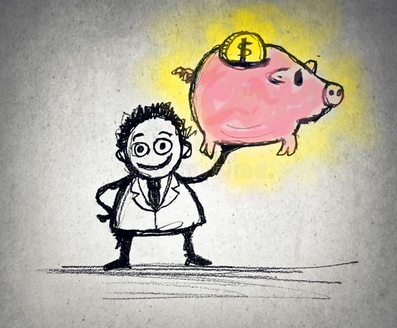 Getrokken zakenman royalty-vrije illustratie