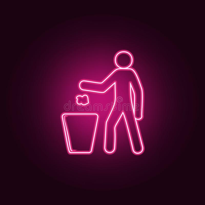 getti l'immondizia nell'icona della pattumiera Elementi di ecologia nelle icone al neon di stile Icona semplice per i siti Web, w royalty illustrazione gratis