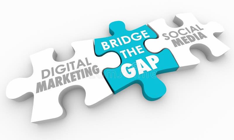 Getti un ponte sul puzzle sociale di media di vendita di Gap Digital illustrazione di stock