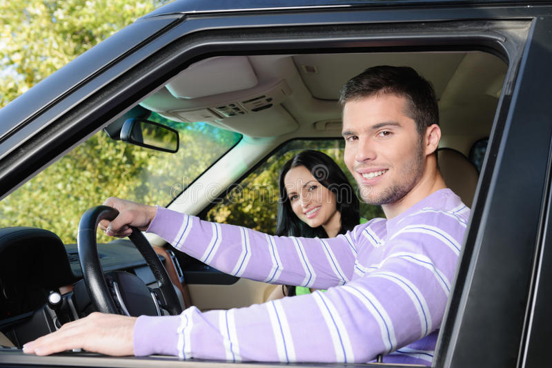 Getting away for the weekend in the new car stock photos