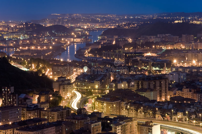 Getting dark in the ria of Bilbao royalty free stock images