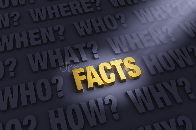 Getting The Facts. A spotlight illuminates a bright, gold FACTS on a dark background filled with WHO?, WHAT?, WHEN?, WHERE, HOW?, and WHY royalty free illustration