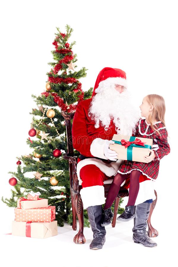 Getting gift from Santa Claus royalty free stock photography