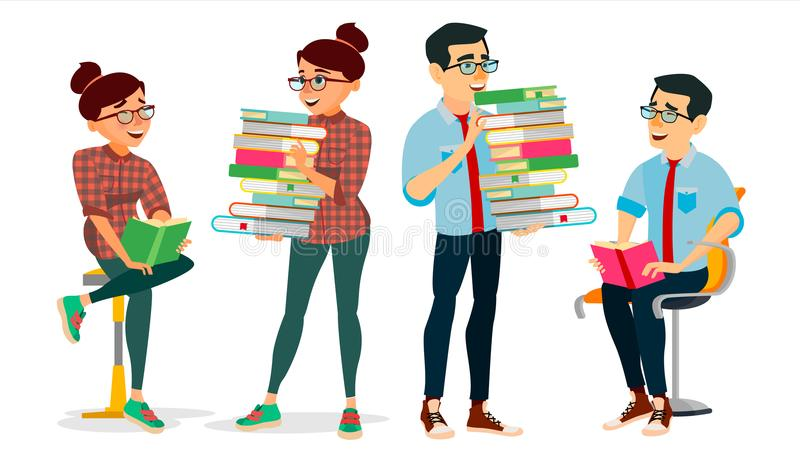 Getting Knowledge Concept Vector. Encyclopedia. Man And Woman In Book Club. Library, Academic, School, University. Concept. Self Education, Literature Reading royalty free illustration
