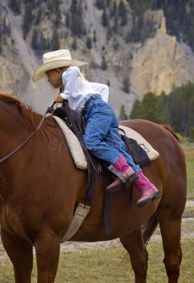 Getting Off the Horse stock image