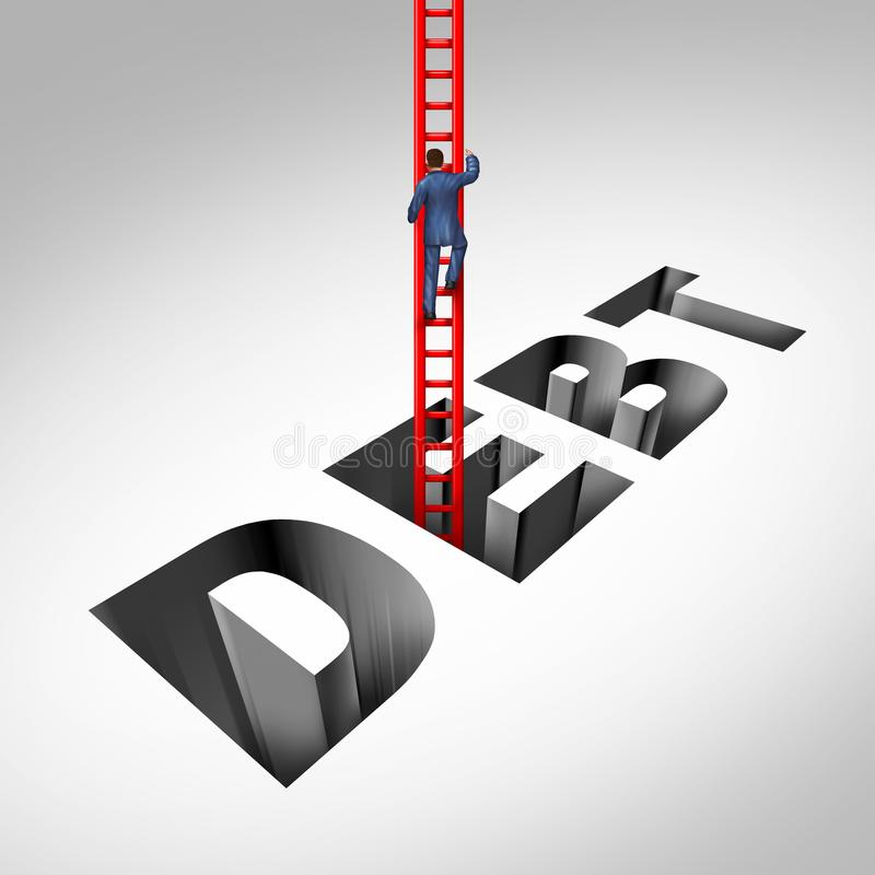 Getting Out Of Debt. And escaping financial problems as a person climbing with a ladder from bankruptcy and budget stress with 3D illustration elements royalty free stock photo