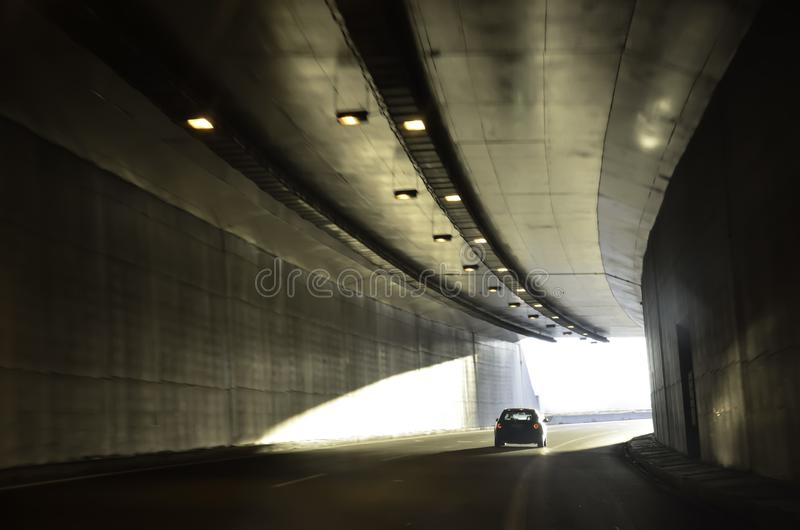 Getting out of a  motorway tunnel stock image