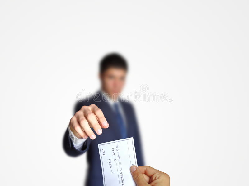 Businessman giving card stock photography